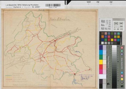 Schwelm (Kreis) - Versorgungsgebiet der Wasser & Elektrizitätswerke des Kreises Schwelm - 1925 - 1 : 50 000 - 35 x 43 - Lichtpause mit Einzeichnungen - Oberpräsidium Münster Nr. 6913