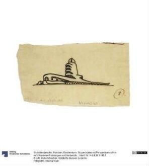Potsdam, Einsteinturm. Skizzenblätter mit Perspektivansicht in verschiedenen Fassungen von Nordwesten und Nordosten