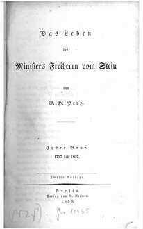 ˜Dasœ Leben des Ministers Freiherrn vom Stein. 1, 1757 bis 1807