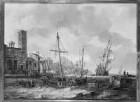 Italienischer Hafen mit Segelschiffen und Staffage