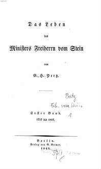 ˜Dasœ Leben des Ministers Freiherrn vom Stein. 1, 1757 - 1807