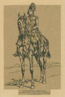 Stab Kaiser Napoleon I.: Marschall Bethier in Uniform, Mütze und Schärpe, Orden zu Pferd, Vorderansicht