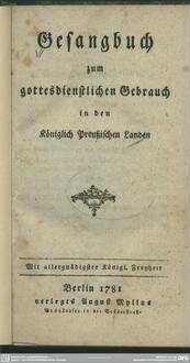 Gesangbuch zum gottesdienstlichen Gebrauch in den Königlich Preußischen Landen