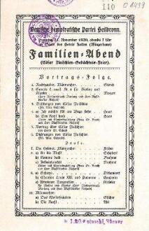 Programmblatt zu einem Familien-Abend der Dt. Demokratischen Partei (Cäsar Flaischlen-Gedächtnis-Feier) im Hotel Falken