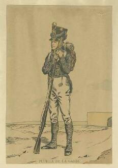 Stab Kaiser Napoleon I.: Gardeschütze in Uniform, Mütze und Feldausrüstung, stehend auf Muskete gestützt, Vorderansicht in Halbprofil
