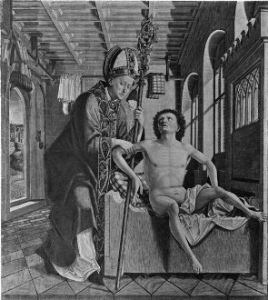 Kirchenväteraltar — Vier Szenen aus der Legende des heiligen Wolfgang — Der heilige Wolfgang heilt einen Kranken
