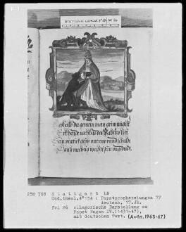 Flugschrift mit Illustrationen aus den Papstprophezeiungen mit antipäpstlichen Spottversen — Allegorische Darstellung zu Papst Eugen 4. (1431-1447), Folio 26recto