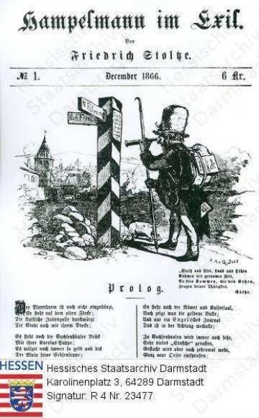 Stoltze, Friedrich (1816-1891) / Porträt, Karikatur des aus Frankfurt am Main vertriebenen Stoltze als 'Hampelmann im Exil'