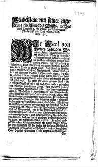 Wendelstain mit seiner zugehörung ein Ampt des Reichs, welches durch Carolum 4. den Grossen zu Nürmberg zur Pfandschafft vom Reich bestettigt wird : Anno 1347