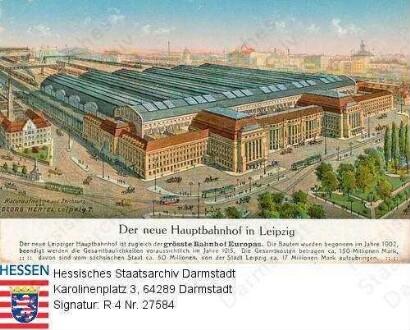 Leipzig, Hauptbahnhof / Gesamtansicht mit Umfeld und Bildlegende