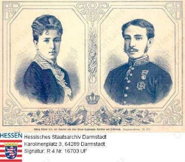 Alfons XII. König v. Spanien (1857-1885) / Porträt mit 2. Ehefrau Maria Christine geb. Erzherzogin v. Österreich (1858-1929) / 2 Porträts in Rahmen, Brustbilder