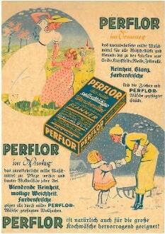 """Werbeblatt für das selbsttätige Waschmittel """"Perflor"""" von Flammer"""
