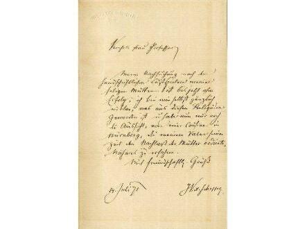 Originalbrief von Joseph Victor von Scheffel an Alwine Schroedter