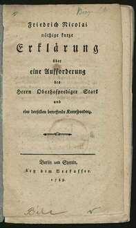 Friedrich Nicolai nöthige kurze Erklärung über eine Aufforderung des Herrn Oberhofprediger Stark und eine denselben betreffende Korrespondenz