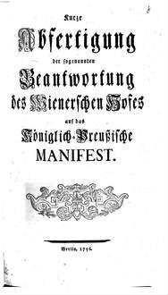 Kurze Abfertigung der sogenannten Beantwortung des Wienerschen Hofes auf das Königlich-Preußische Manifest