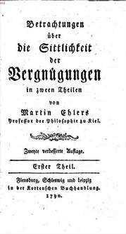 Betrachtungen über die Sittlichkeit der Vergnügungen : in zween Theilen. 1