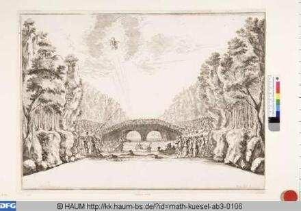Bühnenbild zu der Oper 'Il fuoco eterno', 9. Bild: Tiber