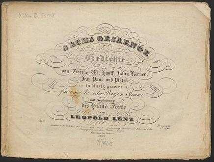 Sechs Gesaenge Gedichte Von Goethe W Hauff Justin