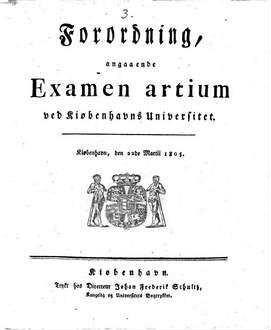 Forordning angaaende Examen artium ved Kiobenhavns Universitet