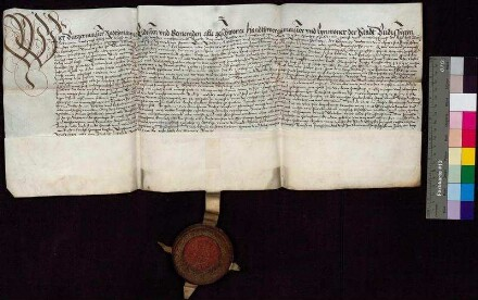 Bürgermeister und Rat der Stadt Bautzen leihen sich von Caspar Peucer, Professor der Universität Wittenberg, 1.000 Gulden gegen einen jährlichen Zins von 60 Gulden. Eine nachträgliche Aufschrift vermerkt, dass die Summe am 13. Oktober 1615 an die Erben Peucers zurückgezahlt worden ist.