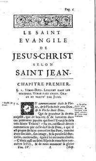 ˜Leœ nouveau Testament en françois : avec des reflexions morales sur chaque verset, pour en rendre la lecture plus utile, et la meditation plus aisée. 4, Qui comprend l'Evangile selon S. Jean