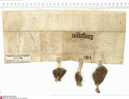 Der Ritter Friedrich von Schlitz (Slytese), Ministeriale des Klosters Fulda, bekundet hinsichtlich des Berges Naxburg (Nackesburg), auf welchem Be...