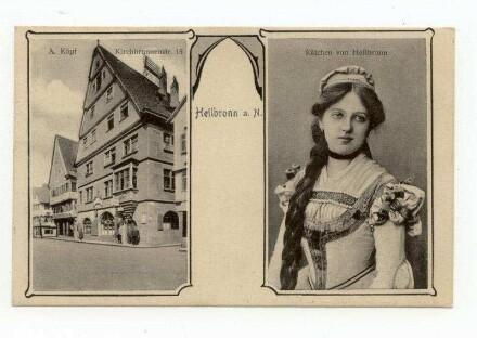 """Käthchen und Ansicht der Gaststätte """"Zum Käthchen"""", Kirchbrunnenstraße 15 (Pächter A. Köpf)"""