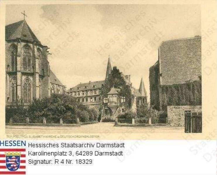 Marburg/Lahn, Elisabethkirche (Chor) und Deutschordenskloster