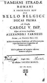 De bello Belgico : decas .... 1. (1643)
