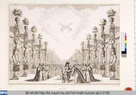 Bühnenbild zu der Oper 'Il fuoco eterno', 12. Bild: Palastgarten