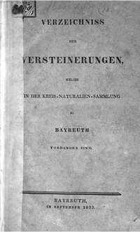 Verzeichniss der Versteinerungen, welche in der Kreis-Naturalien-Sammlung zu Bayreuth vorhanden sind