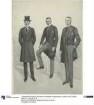 Drei Herren in eleganter Tageskleidung: Gehrock und Cutaway