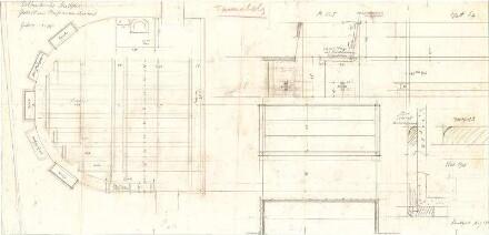 Fischer, Theodor; Erlöserkirche - Gestühl im Konfirmandensaal (Grundriss, Ansichten, Schnitt, Details)
