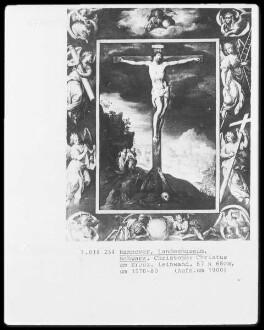 Christus am Kreuz umgeben von einem gemalten Rahmen — Christus am Kreuz, im Hintergrund die drei Marien am leeren Grab