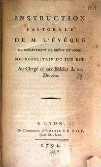 Instruction pastorale de M. l'évêque du département de Rhône et Loire