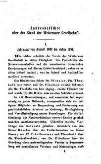Jahresbericht der Wetterauischen Gesellschaft für die Gesammte Naturkunde zu Hanau. 1851/53, 1851/53