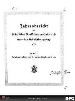 Jahresbericht der Städtischen Realschule zu Calbe a.S. [Elektronische Ressource] ... - 1926/27; 1926/27