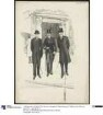 Drei Herren in eleganter Tageskleidung: Cutaway und Gehrock