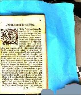 Furni Novi Philosophici Oder Beschreibung einer New-erfundenen Distillir-Kunst : Auch was für Spiritus, Olea, Flores, und andere dergleichen Vegetabilische, Animalische, und Mineralische Medicamenten, damit auff eine sonderbahre Weise gantz leichtlich, mit grossem Nutzen können zugericht und bereitet werden. Auch wozu solche dienen, und in Medicina, Alchimia, und anderen Künsten können gebraucht werden. 5, Darinnen von des Fünften Ofens wunderbahrlichen Natur vnnd Eigenschafft, deßgleichen auch etlicher nothdürftigen, zu den vorhergehenden vier Oefen gehörigen Instrumenten vnd Materialien, leichtliche zurichtung vnd bereittung, kürtzlich, doch deutlich gehandelt wird