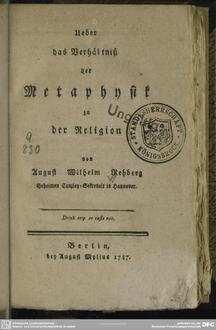 Ueber das Verhältniß der Metaphysik zu der Religion