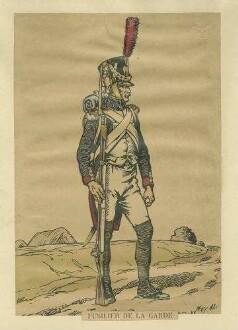 Stab Kaiser Napoleon I.: Füsilier der Garde in Uniform, Mütze und Feldausrüstung, stehend, in Profil