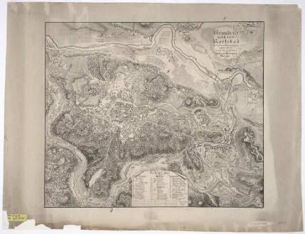 Karte von Karlsbad und Umgebung, 1:5 000, Radierung, um 1820