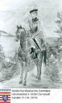 Jelissaweta Feodorowna Großfürstin v. Russland geb. Prinzessin Elisabeth v. Hessen und bei Rhein (1864-1918) / Porträt, auf Pferd sitzende Ganzfigur