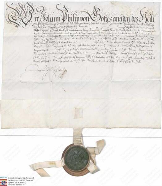 von Heusenstamm: Erzbischof Johann Philipp von Mainz