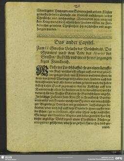 Das ander Capitel. Zum II. Gerechte Ursache der Verbündnis, Der Spaniers nach dem Tode des Henrici des Grossen, Außfälle und wie es ferner zugangen kegen Franckreich