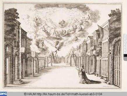 Bühnenbild zu der Oper 'Il fuoco eterno', 7. Bild: Straße in einer Stadt