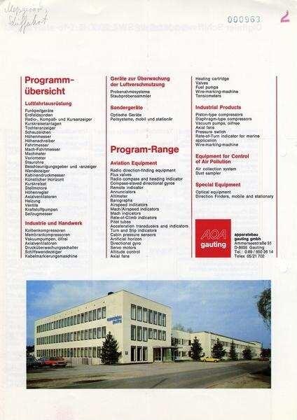 Prospekt: AOA Apparatebau Gauting GmbH - Deutsche Digitale Bibliothek