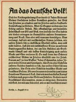 Aufruf Kaiser Wilhelm II., König von Preußen vom 6.8.1914: An das Deutsche Volk zum Krieg