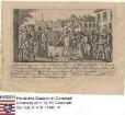 Mainz, 1793 um / Verfolgung der Jakobiner in der Mainzer Republik, Szenenbild: Attacke auf den Freiheitsbaum, mit Bildlegende