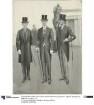 Drei Herren in formaler Kleidung im Museum: Cutaway und Gehrock